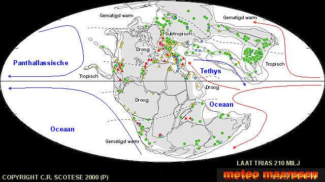 Wereldkaart met continenten en klimaatgordels ( www.scotese.com